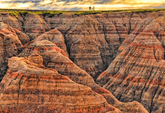 Three on the Ridgeline (Jeff Clow) Tags: southdakota landscape erosion badlandsnationalpark striated naturesfinest thebadlands