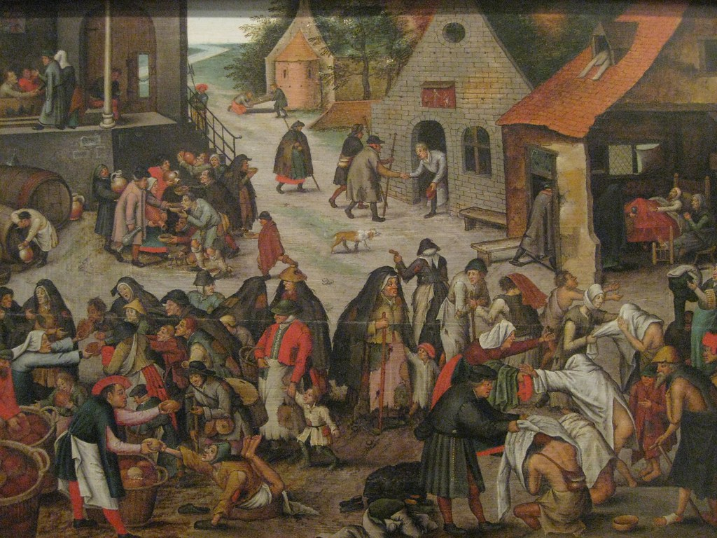 Pieter Brueghel, The Younger (Flemish, a. 1564-1637) Acts of Mercy (c. 1625) Oil on panel. Museum of Ancient Art, Lisbon.