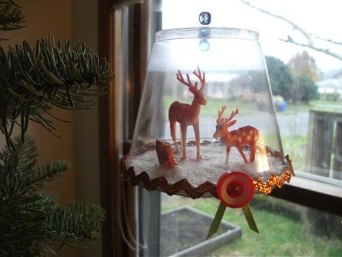 finished winter wonderland ornament with ribbon rosette