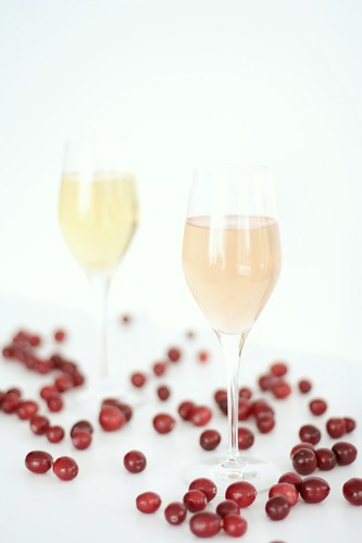 Champagne and cranberry cocktails