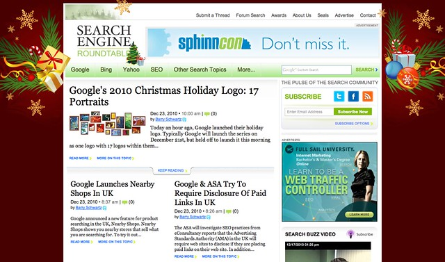 Search Engine Roundtable 2010 Christmas Theme