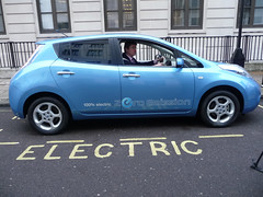 Greg Clark test drives an electric car