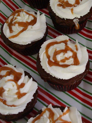 Hot Chocolate Cupcakes with Whipped Cream and Salted Caramel