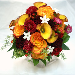 Bride's Fall/Winter Bouquet top (nancycno) Tags: pink winter wedding red roses orange fall bride mango bouquet bridal hypericum stephanotis bridalbouquet nosegay astors minicalla trecilium