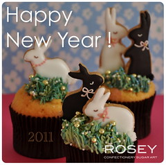 HAPPY NEW YEAR ! 2011 (rosey sugar) Tags: party rabbit animal cake miniature cookie decoration mini sugar celebration cupcake icing piping happynewyear petit 2011 royalicing sugarcraft decorativecookie