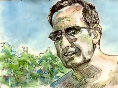 JKPP : ipad junkie (croquisdenico) Tags: portrait man glasses sketch drawing sketchbook dessin croquis jkpp