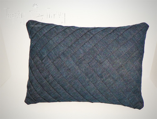 denim herringbone pillow finished
