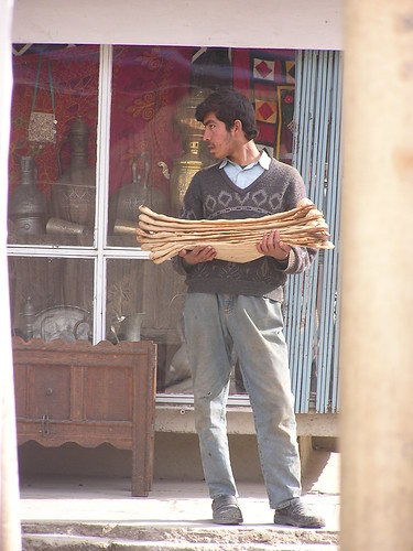Afghan man with naan