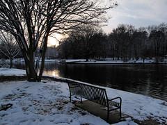 fading light (jbtuohy) Tags: park city winter sunset snow bench outdoors nc pond natural charlotte northcarolina snowfall 2010 freedompark g11 jbtuohy