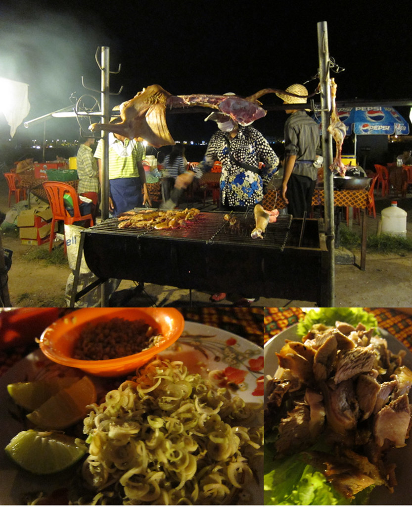 BBQ whole cow on a spit at Angkor Pjyungyu