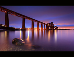 Forth Bridge Gloaming South Queensferry (angus clyne) Tags: road new old bridge blue winter light sunset red cloud mist snow cold reflection brick ice home fog stone ferry bulb night dark painting out lens drive scotland frozen edinburgh frost track glow shine purple angle fife angus dusk path south tide north wide dream picture rail east queens torch forth stepping lee hour be filters sodium lothian firth gloaming iphone thebridge clyne colorphotoaward canon5dmarkii