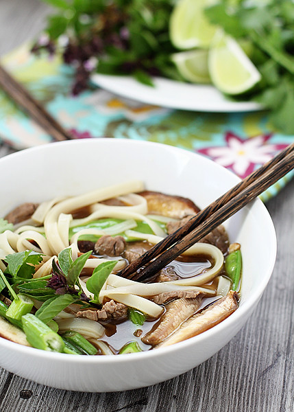 Vietnamese Beef and Noodle Soup with Snow Peas