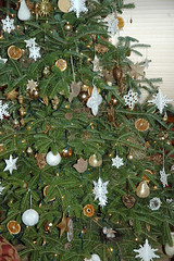 Christmas tree with white, gold and beige ornaments (kizilod2) Tags: christmas orange brown white holiday flower tree gold beige natural tan cream ornaments decorating hydrangea decor driedflowers sealavender driedorangeslices
