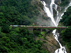 Under the waterfalls , through the greenery.... (Jay fotografia) Tags: india tourism trekking trains karnataka trainspotting indianrailways d