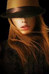Hide (ilina s) Tags: portrait woman hat sign wind front blond mysterious obscured breeze