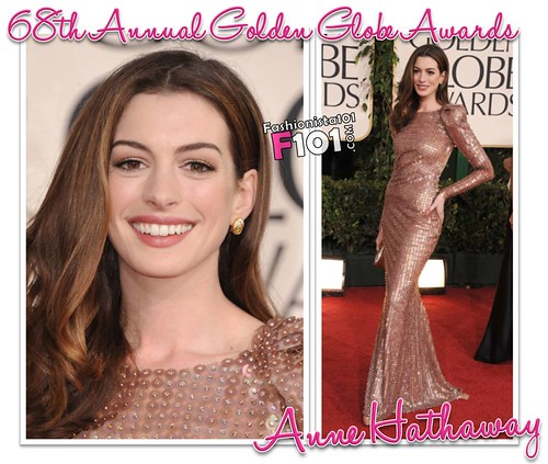 Anne Hathaway 68th Annual Golden Globe Awards. Is Anne Hathaway ever a let