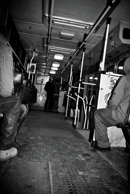 Łódźki tramwaj nocą