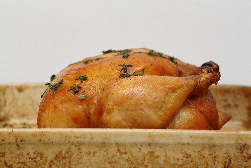 roast chicken in pan