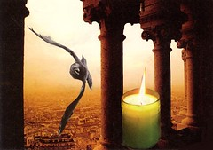 Vigil (nkimadams) Tags: bird collage architecture candle columns