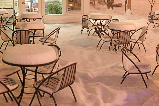 Coffee Cartel, in Saint Louis, Missouri, USA - snow-covered tables