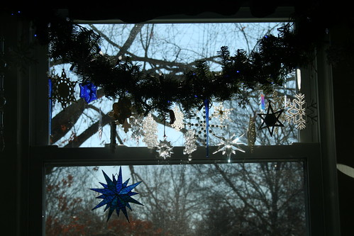 snowflakes in the kitchen window