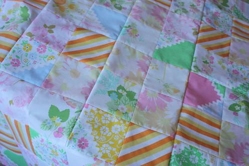 vintage sheet quilt top :)