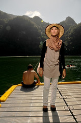 The Lake of Pregnant Maiden 2 (i.am.syahir) Tags: light sky panorama lake colour green art beach colors girl smile island still nikon asia natural wide sb600 hijab pregnant malaysia langkawi potrait dataran catchy maiden pulau trigger kedah bukit cls bunting tasik dayang potraiture 18135mm d300s