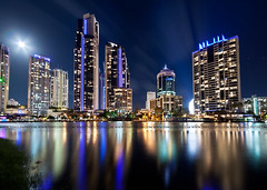 welcome to gold coast (Pawel Papis Photography) Tags: world street city blue light sky urban panorama cloud moon motion blur reflection building tree tower lamp beautiful skyline architecture modern night skyscraper river outdoors pier boat town canal movement scenery downtown glow cityscape view apartment crane australia blurred palm illuminated highrise infrastructure viewpoint dri urbanscape