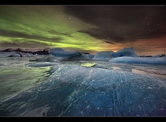 Aurora on the Rocks - Jkulsrln, Iceland (orvaratli) Tags: winter sky ice night landscape star frozen iceland astro glacier arctic aurora astronomy northernlights jkulsrln skaftafell breiamerkurjkull arcticphoto