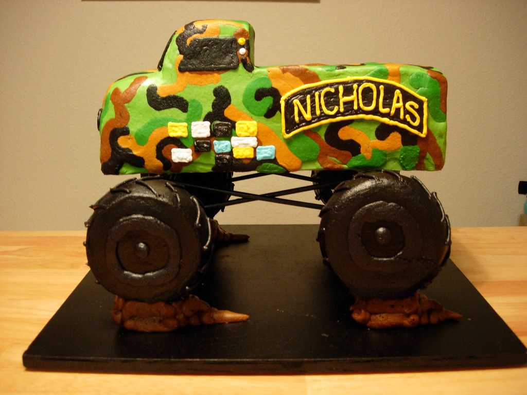 army monster truck cake (Angie Cakes) Tags: cake army camouflage ...