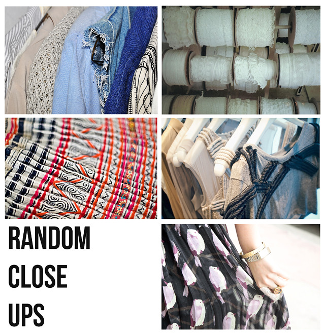 close ups of random fabrics