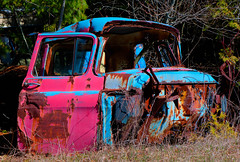 Red & Blue (tlofft) Tags: blue red truck rust