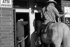 Untitled (ajkpix) Tags: california street urban blackandwhite bw horse blackwhite cowboy sjc missionsanjuancapistrano saloon atm swallows sanjuancapistrano noloitering blackwhitephotos scattidistrada handicappedaccessibleentrance