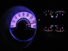 MyColor gauges (floating_stump) Tags: photoshop purple contest mustang speedometer coupe mycar v6 2011 145mph improvisedtripod bluehalo powershotsd850 ccmke mycolorgauges afulltankofgasitsdark