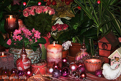 Pink Christmas Peace: #Flickr12Days (faith goble) Tags: christmas xmas pink roses plants holiday bird art urn beads candles artist photographer kentucky ky dove faith silk birdhouse pearls cc ornaments card creativecommons poet pottery writer bauble africanviolet bowlinggreen spiderplant snakeplant perfumebottle 2101 sanseveria goble faithgoble gographix faithgobleart flickr12days