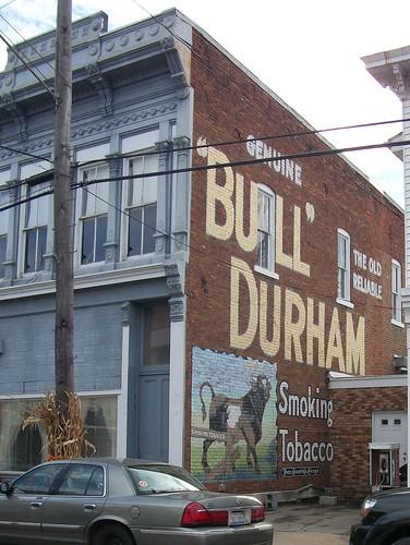 "restored ""bull"" durham ghost sign"
