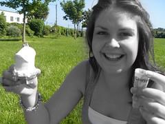 Broken ice cream in the sun (HoneyDinks) Tags: park summer green cone icecream coloursplash