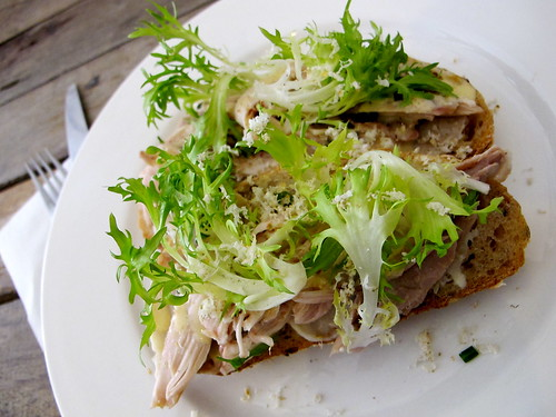 Poached chicken, celeriac, frisee, mustard aioli