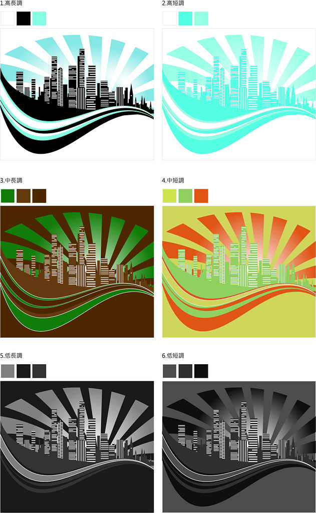 配色與調合-以明度為主的配色2
