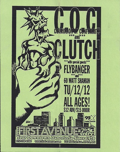 12/12/00 C.O.C./Clutch/Flybanger/60 Watt Shaman @ Minneapolis, MN (Handbill)