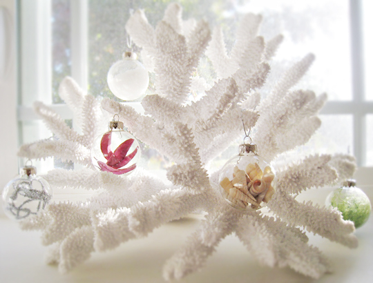 christmas ornaments hanging on coral+glass filled christmas ornaments-lighter