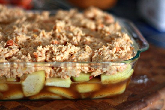 Apple Cobbler with Sweet Potato Drop Buscuit Topping
