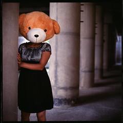 werebear! (19/77) Tags: bear portrait woman slr film girl teddy malaysia 1977 negativescan kiev88 mediumfromat kodakektacolorpro160 autaut canoscan8800f arsat80mmf28 myasin