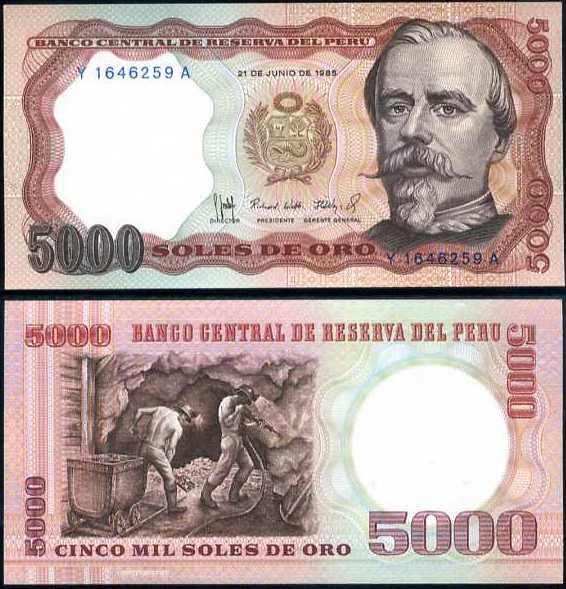5000 Soles De Oro Peru 1985, P117