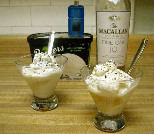 Thursday Football Dessert, Vanilla Ice Cream, Single Malt Scotch and Ground Pepper