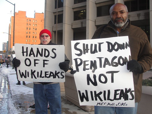Abayomi Azikiwe, editor of the Pan-African News Wire, with David Sole of the Michigan Emergency Committee Against War & Injustice (MECAWI), outside the federal bldg. in Detroit protesting the arrest of Julian Assange, the founder of WikiLeaks. by Pan-African News Wire File Photos