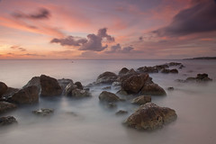 Curacao Sunset at Parasasa Beach (Greg Weeks Photography) Tags: ocean from pink sunset sea 2 sky seascape color beach water netherlands colors del strand canon landscape island atardecer this mar zonsondergang rocks long exposure view time photos mark or playa paisaje rights curacao tropical 5d caribbean everyone member puesta curaao isla catchy lapse curazao landschap antilles eiland paars caribe antillen nederlandse tropisch antillas holandesas korsou caribisch korsow