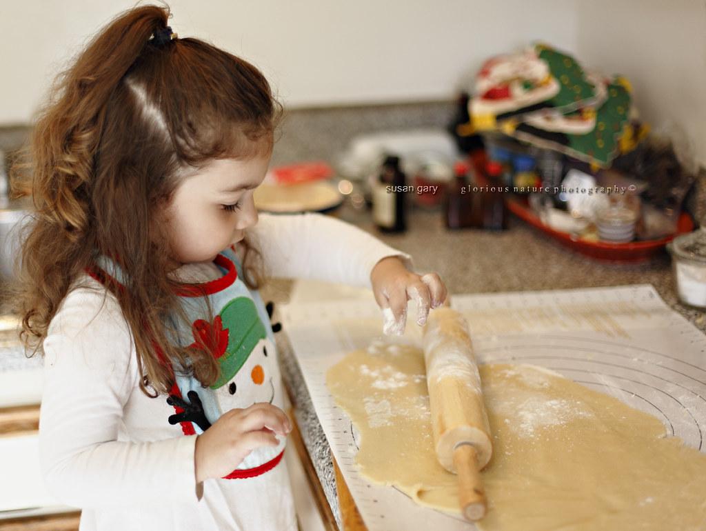 Toddler Girl Making Cookie Dough Closeup