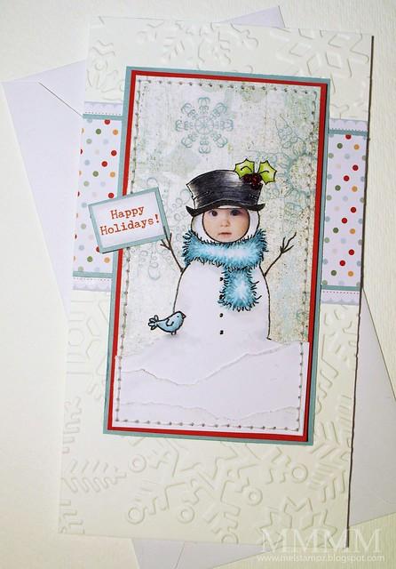 Hayden as a snowman (mel stampz)