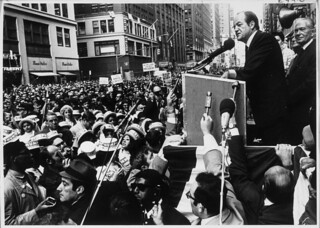 Louis Stulberg looks on as Hubert H. Humphrey gives a speech during his November 15, 1968 presidential campaign.